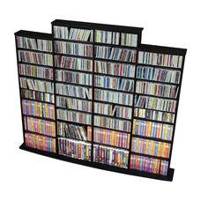 Quad Width Wall Storage with 32 Adjustable Shelves - Black