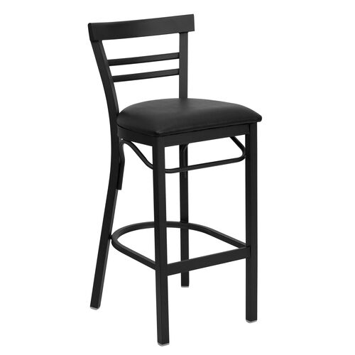 Our HERCULES Series Black Two-Slat Ladder Back Metal Restaurant Barstool - Black Vinyl Seat is on sale now.