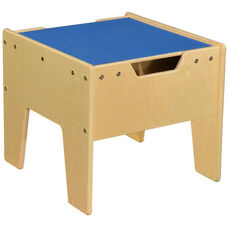 LEGO™ Compatible Reversible Table with Blue Top - Unassembled - 18.63''W x 17.63''D x 16''H