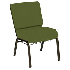 HERCULES Series 21''W Church Chair in E-Z Wallaby Olive Vinyl with Book Rack - Gold Vein Frame