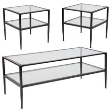 Newport Collection 3 Piece Coffee and End Table Set with Glass Tops and Black Metal Frames