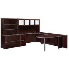 Fairplex Deluxe Left Executive Peninsula U Workstation - Mocha