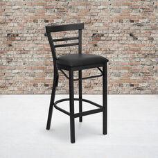 HERCULES Series Black Two-Slat Ladder Back Metal Restaurant Barstool - Black Vinyl Seat