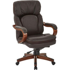 Inspired By Bassett Van Buren Bonded Leather Knee Tilt Executive Chair - Espresso