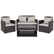 Aransas Series 4 Piece Black Patio Set with Gray Back Pillows and Seat Cushions