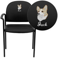 Embroidered Comfort Black Vinyl Stackable Steel Side Reception Chair with Arms