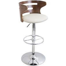 Cosi Mid-Century Modern Faux Leather Height Adjustable Swivel Barstool with Walnut Accents - Cream