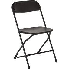 Work Smart Plastic Folding Chair - Set of 4 - Black