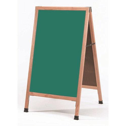 Our A-Frame Sidewalk Green Porcelain Chalkboard with Solid Red Oak Frame - 42