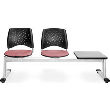 Stars 3-Beam Seating with 2 Coral Pink Fabric Seats and 1 Table - Gray Nebula Finish
