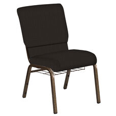 18.5''W Church Chair in Mainframe Truffle Fabric with Book Rack - Gold Vein Frame