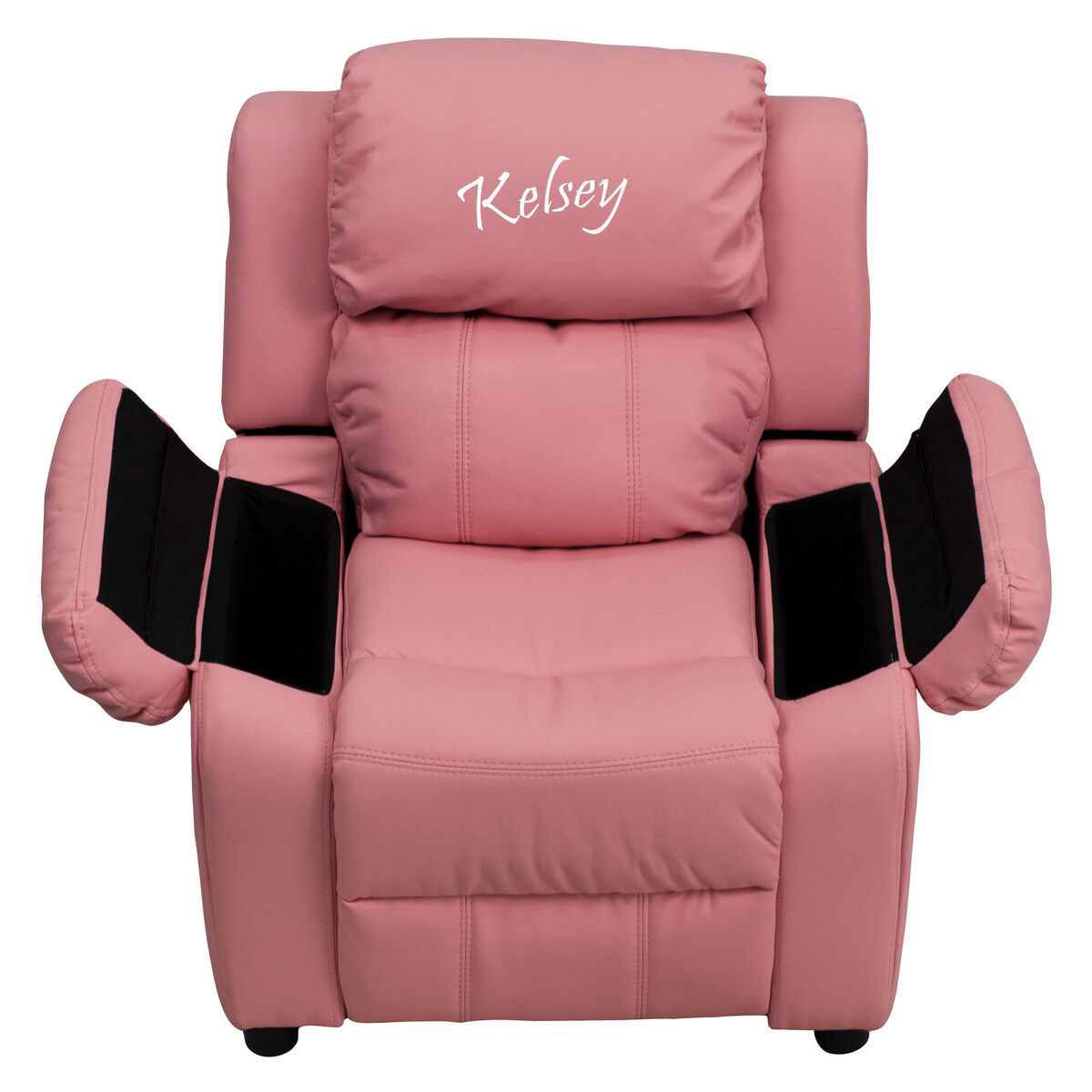 Flash furniture personalized deluxe padded pink vinyl kids for Toddler leather chair