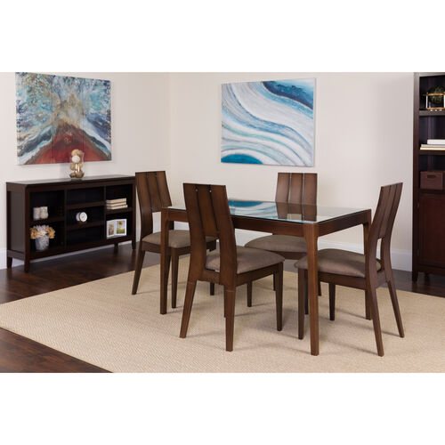 Our Winslow 5 Piece Espresso Wood Dining Table Set with Glass Top and Curved Slat Keyhole Back Wood Dining Chairs - Padded Seats is on sale now.