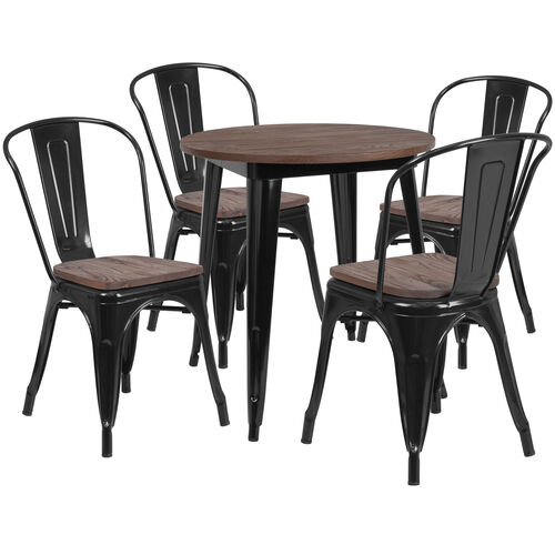 "Our 26"" Round Black Metal Table Set with Wood Top and 4 Stack Chairs is on sale now."