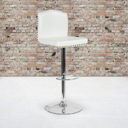 Bellagio Contemporary Adjustable Height Barstool with Accent Nail Trim in White LeatherSoft