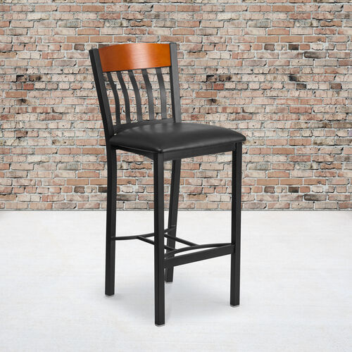 Our Vertical Back Metal and Wood Restaurant Barstool with Vinyl Seat is on sale now.