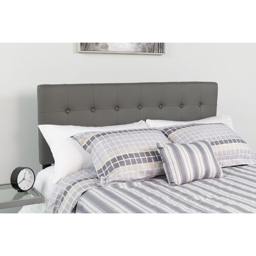 Our Lennox Tufted Upholstered Twin Size Headboard in Gray Vinyl is on sale now.