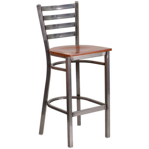 Our Clear Coated Ladder Back Metal Restaurant Barstool with Cherry Wood Seat is on sale now.