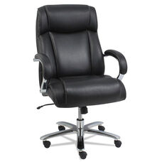 Alera® Maxxis Series Big and Tall Leather Chair with Gel Cooling Pad Technology - Black Leather with Chrome Base