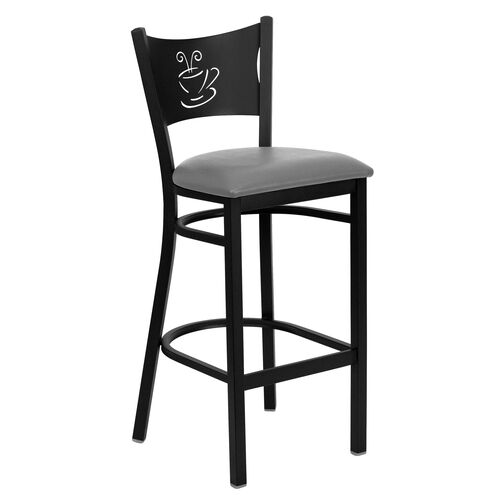 Our Black Coffee Back Metal Restaurant Barstool with Custom Upholstered Seat is on sale now.