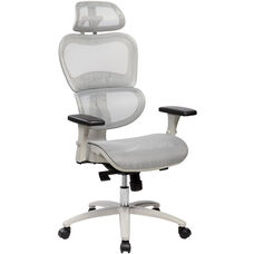 Techni Mobili High Back Mesh Office Executive Chair with Neck Support - Grey