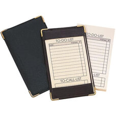 Deluxe Pocket Note Jotter Organizer - Top Grain Nappa Leather - Black