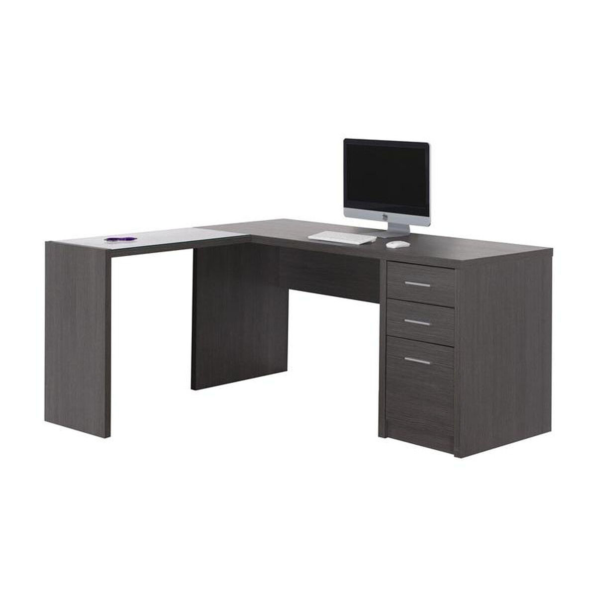 Our L Shaped Computer Desk With Tempered Glass Side Table Gray Is On