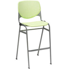 2300 KOOL Series Stacking Poly Armless Barstool with Perforated Back and Silver Frame - Lime Green