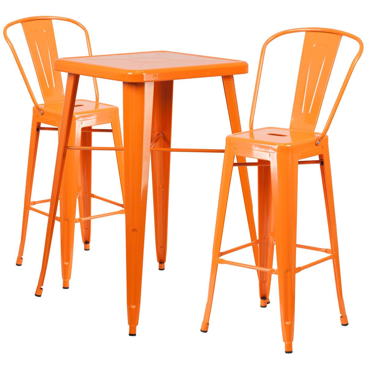 Flash Furniture 23 75 Square Orange Metal Indoor Outdoor