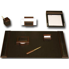 Wood and Leather 7 Piece Desk Set - Walnut and Black
