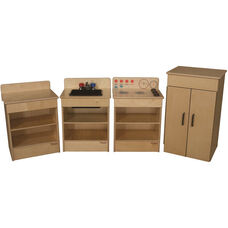 Tot Kitchen Appliances with Standard Hutch and Brown Accents - Set of 4 - 68
