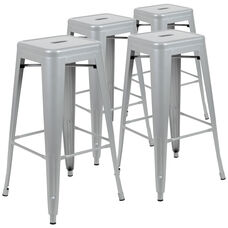 "30"" High Metal Indoor Bar Stool - Stackable Set of 4"