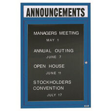 1 Door Outdoor Illuminated Enclosed Directory Board with Header and Blue Anodized Aluminum Frame - 48