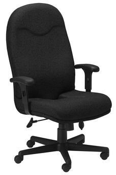 Comfort Executive High Back Posture Chair with Adjustable T Arms - Black Fabric