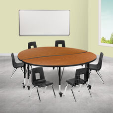"""Mobile 60"""" Circle Wave Collaborative Laminate Activity Table Set with 12"""" Student Stack Chairs, Oak/Black"""