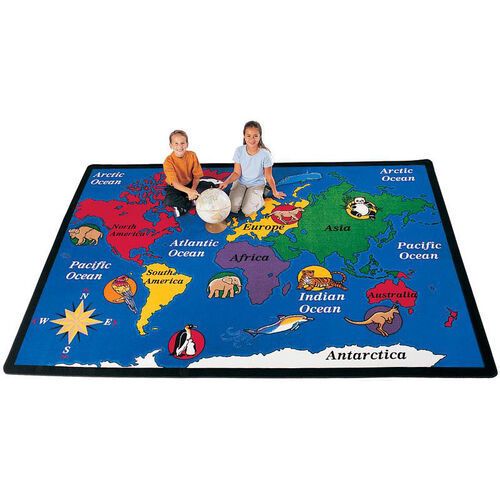 Our World Explorer Continent Rectangular Nylon Rug - 53