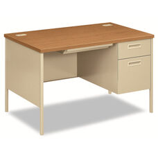 HON® Metro Classic Right Pedestal Desk - 48w x 30d x 29 1/2h - Harvest/Putty