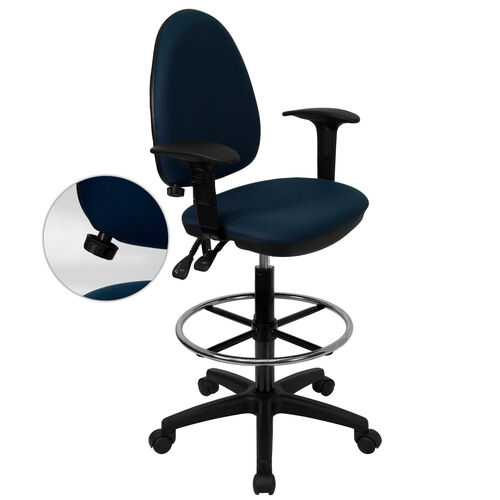 Our Mid-Back Navy Blue Fabric Multifunction Ergonomic Drafting Chair with Adjustable Lumbar Support & Adjustable Arms is on sale now.