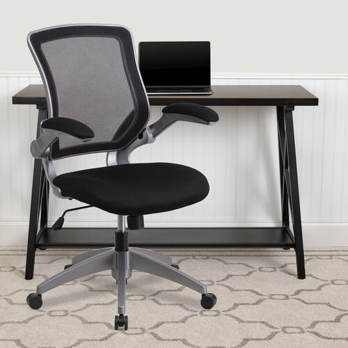 Mid-Back Mesh Swivel Ergonomic Task Office Chair with Gray Frame and Flip-Up Arms