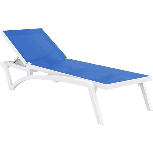 Our Pacific Resin Stackable Blue Mesh Sling Chaise Lounge with White Frame is on sale now.
