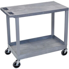 Molded Thermoplastic Resin 1 Tub/1 Flat Shelf Utility Cart with Flat Top Shelf - Gray - 35.25