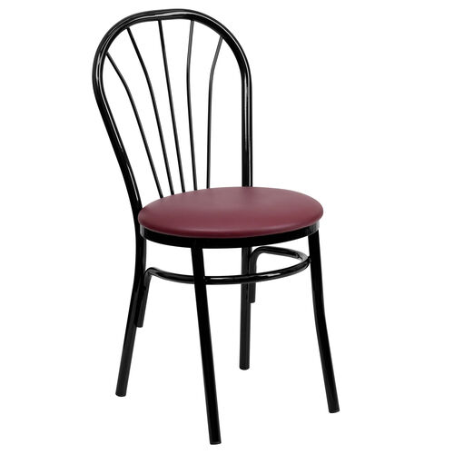 Our Metal Fan Back Bistro Chair with Burgundy Vinyl Seat is on sale now.