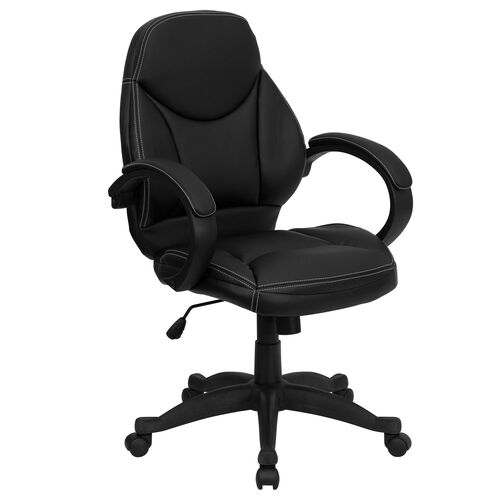 Our Mid-Back Black Leather Contemporary Executive Swivel Ergonomic Office Chair with Arms is on sale now.