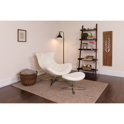 Our Melrose White Leather Cocoon Chair with Ottoman is on sale now.
