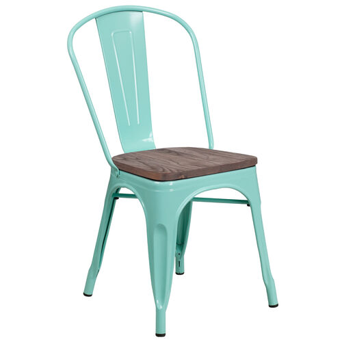 Our Mint Green Metal Stackable Chair with Wood Seat is on sale now.