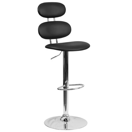 Contemporary Vinyl Adjustable Height Barstool with Ellipse Back and Chrome Base