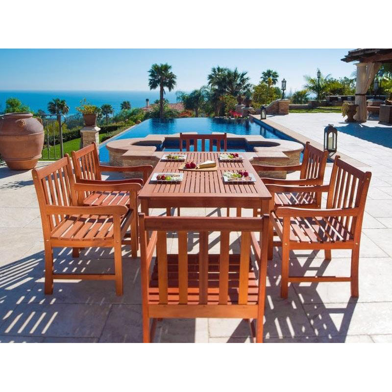 ... Our Malibu Outdoor 7 Piece Wood Patio Dining Set With Straight Leg Table  And 6 Slat ...