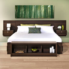 Series 9 Designer Floating King Size Headboard with Attached Nightstands - Espresso