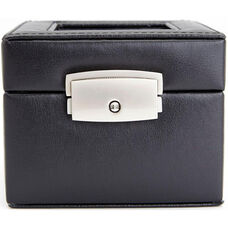 Luxury Two Slot Watch Box - Genuine Leather - Black