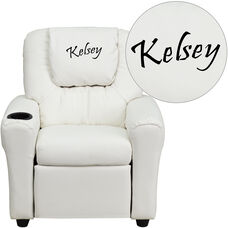 Personalized White Vinyl Kids Recliner with Cup Holder and Headrest